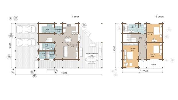 ТОП 14 проектов домов из клееного бруса